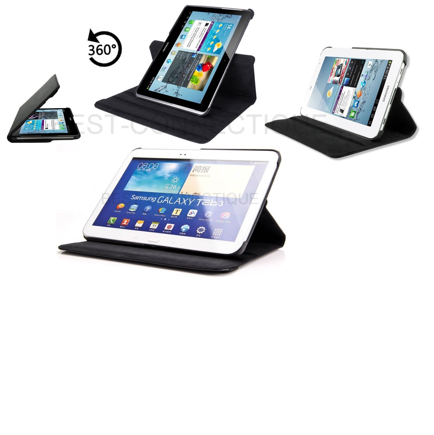 housse etui coque cuir tablette 360 samsung galaxy tab 2 3. Black Bedroom Furniture Sets. Home Design Ideas
