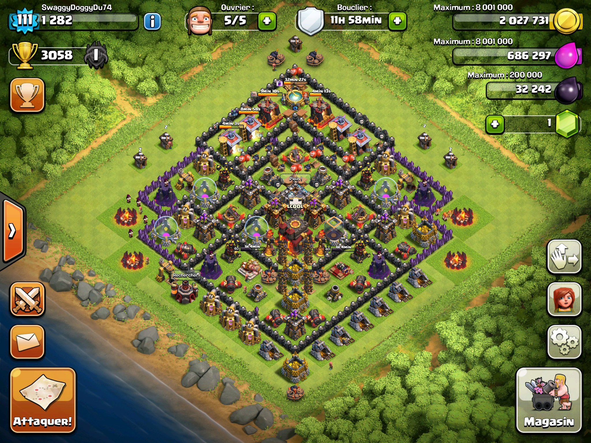 rush village h tel de ville level 10 avec 4 mortiers clash of clans france. Black Bedroom Furniture Sets. Home Design Ideas