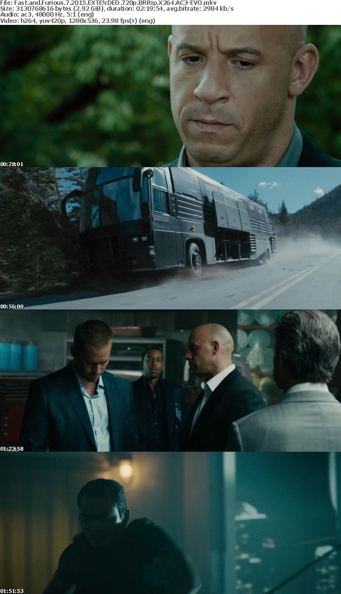 Fast and Furious 7 2015 EXTENDED 720p BRRip X264 AC3-EVO