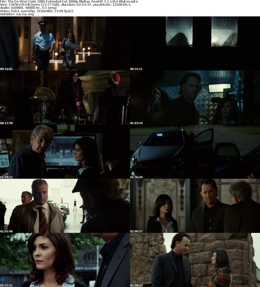 The Da Vinci Code (2006) Extended Cut 1080p BluRay TrueHD 5 1 x264-BluEvo