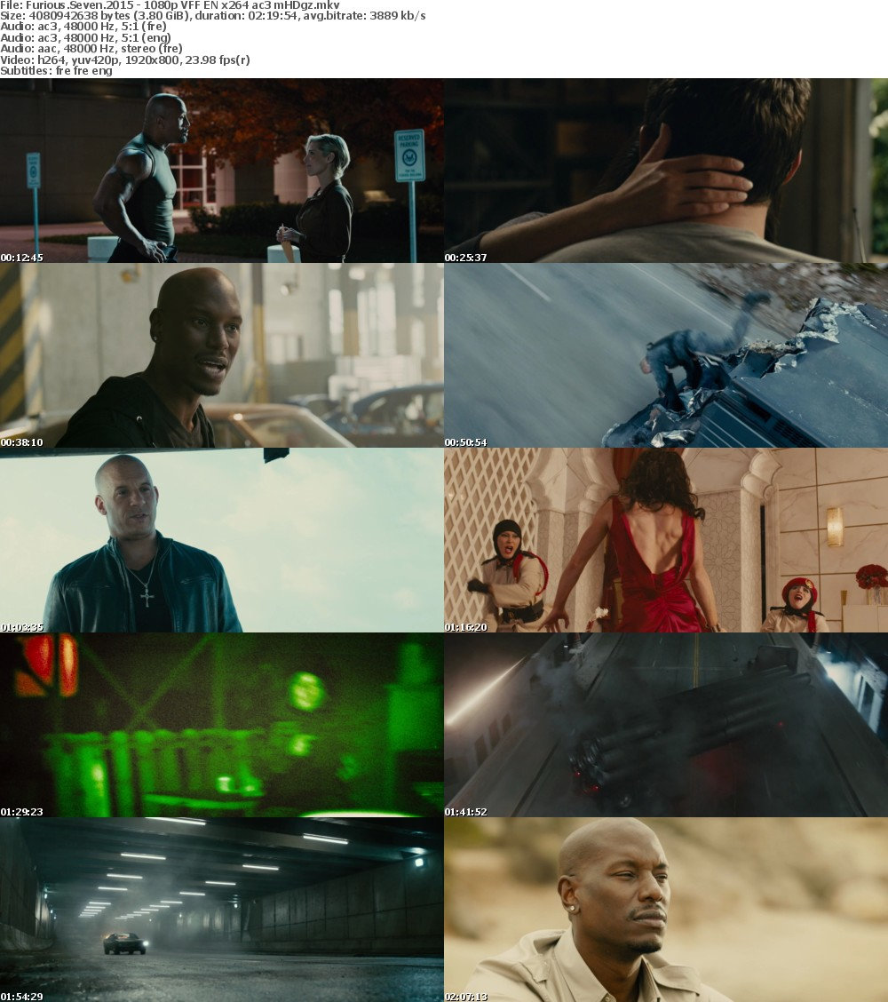 Furious Seven 2015 1080p TRUEFRENCH MULTI x264 ac3 mHDg
