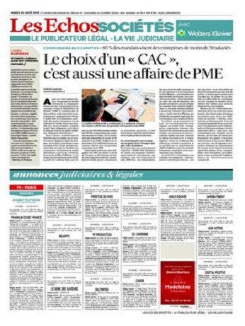 Les Echos Sociétés Du Mardi 25 Août 2015