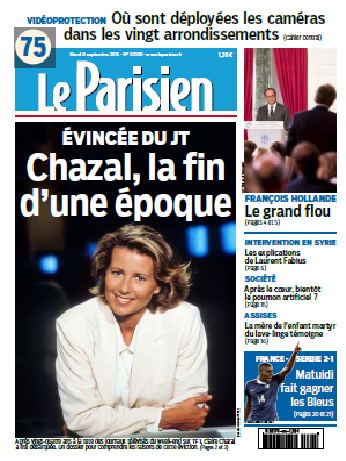 Le Parisien + Journal De Paris Du Mardi 08 Septembre 2015