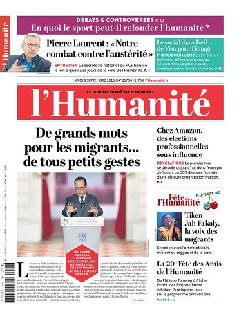 L'Humanite Du Mardi 08 Septembre 2015