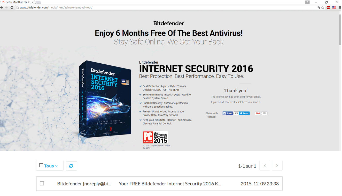 antivirus pc bitdefender internet security 2016 6mois ou total security 3mois gratuit. Black Bedroom Furniture Sets. Home Design Ideas