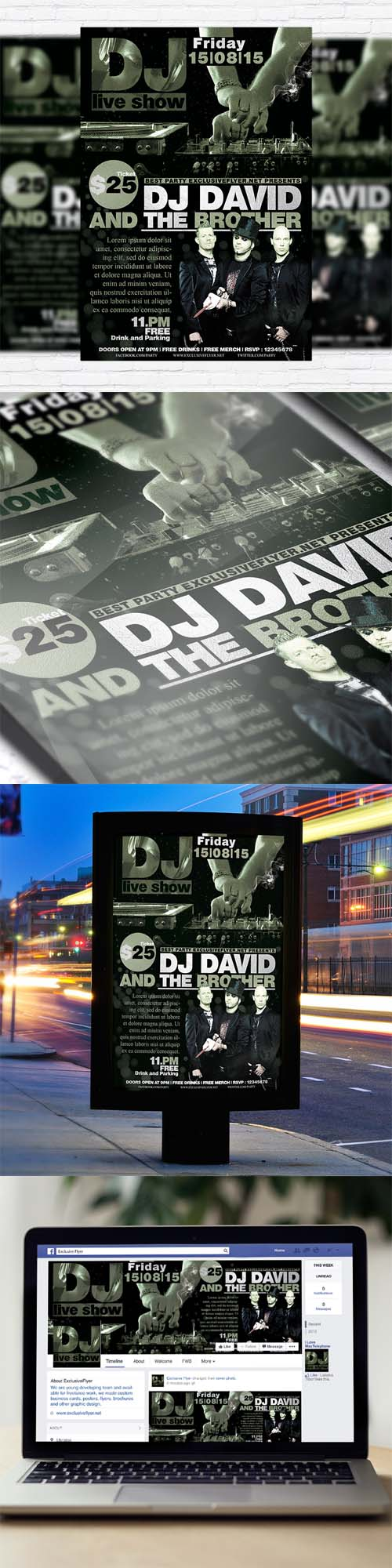 Flyer Template - DJ Live Show Vol.2 + Facebook Cover