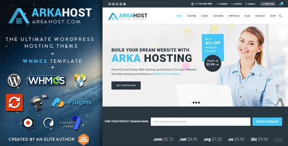 ThemeForest - Arka Host v5.1.1 - WHMCS Hosting, Shop & Corporate WordPress Theme