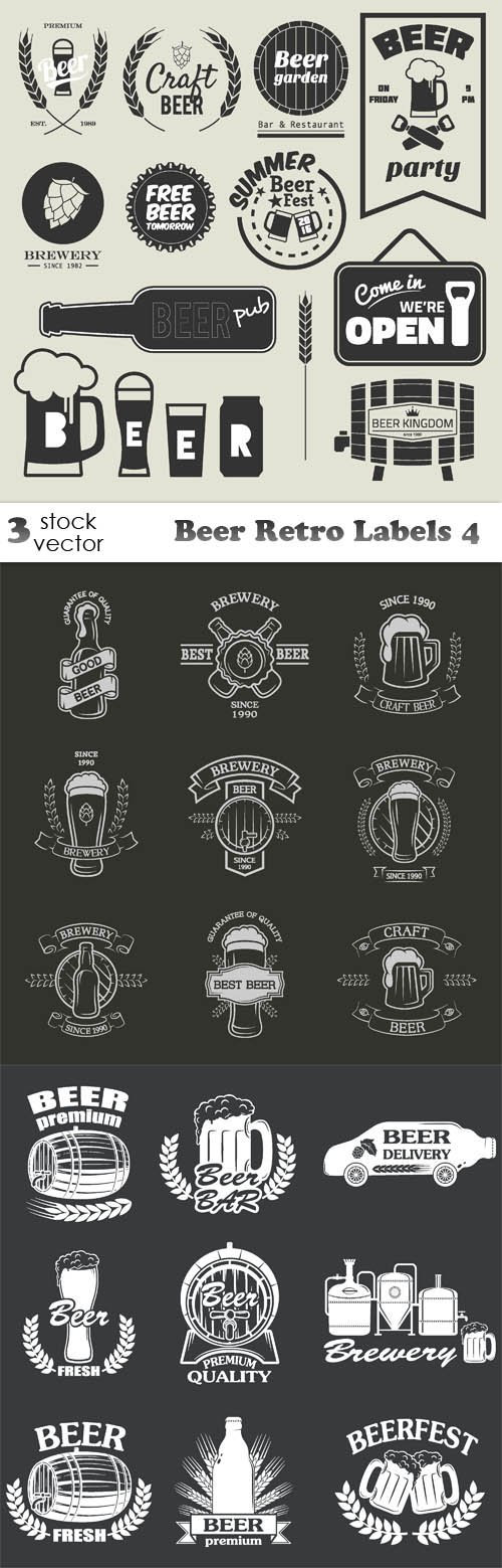 Vectors - Beer Retro Labels 4