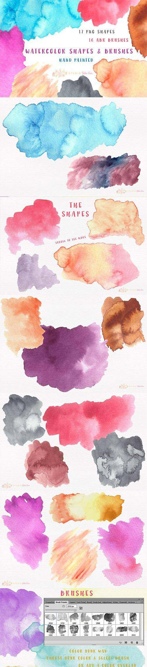 CreativeMarket - Watercolor Splotches Shapes Brushes