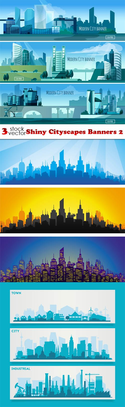 Vectors - Shiny Cityscapes Banners 2