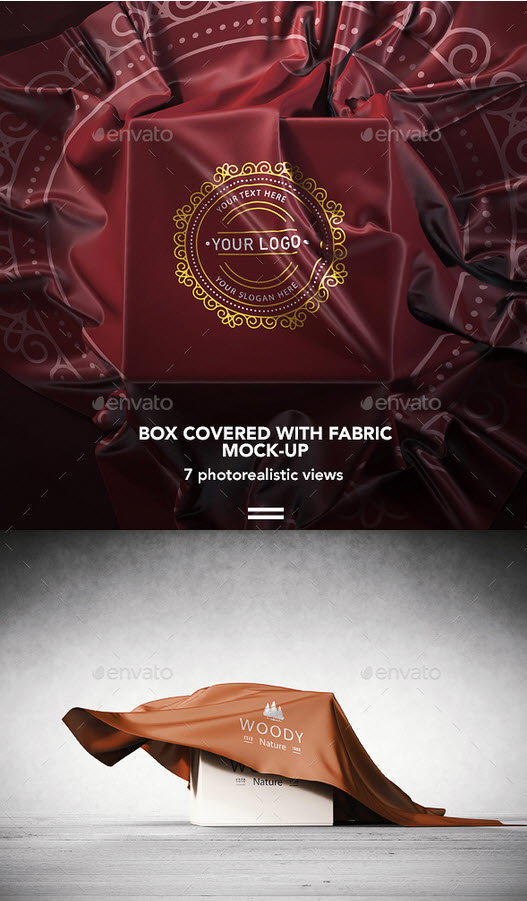 GraphicRiver - Logo Mockup on Covered Box with Fabric