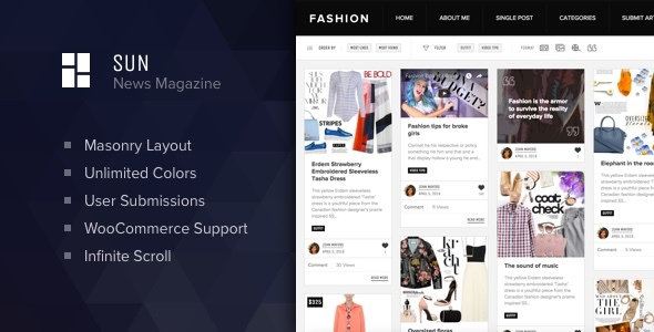 ThemeForest - Sun v1.0 - Masonry Grid Personal Blog and News Magazine theme for WordPress