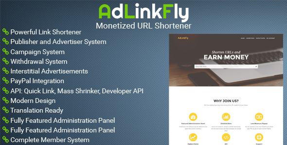 CodeCanyon - AdLinkFly v2.6 - Monetized URL Shortener PHP Script