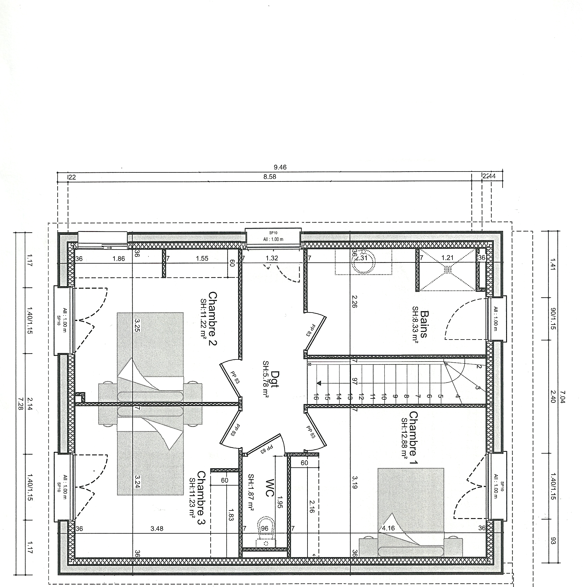 Plan maison r 1 entre 140 et 155m 106 messages for Plan maison 200m2