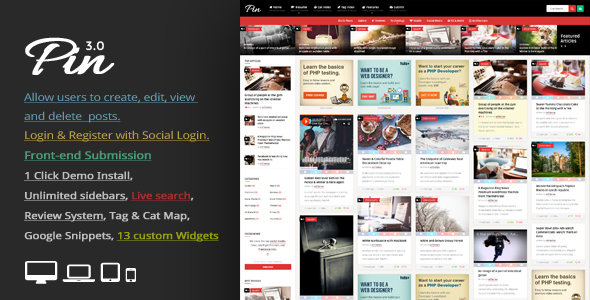 ThemeForest - Pin v3.0 - Pinterest Style / Personal Masonry Blog / Front-end Submission WordPress Theme