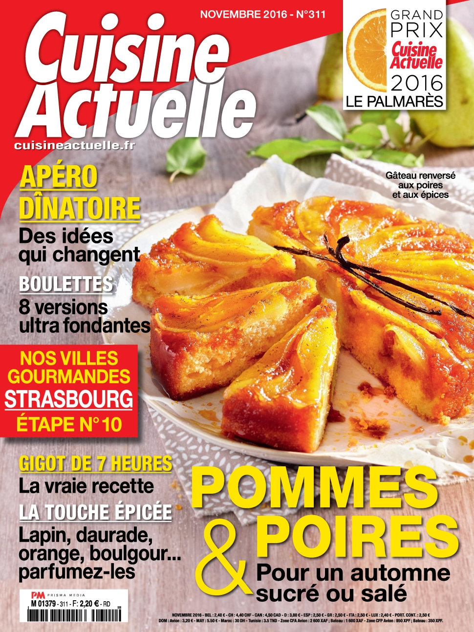 magazine cuisine actuelle n 311 novembre 2016. Black Bedroom Furniture Sets. Home Design Ideas