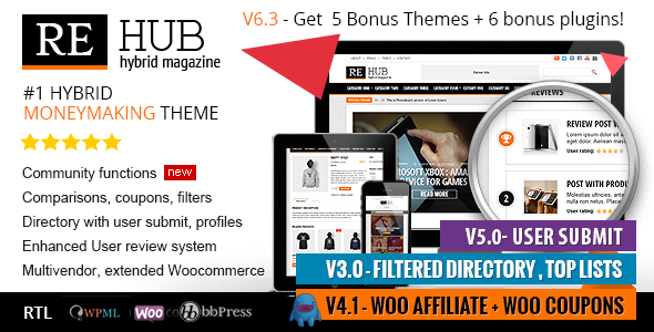 ThemeForest - REHub v6.3.0.1 - Directory, Shop, Coupon, Affiliate WordPress Theme