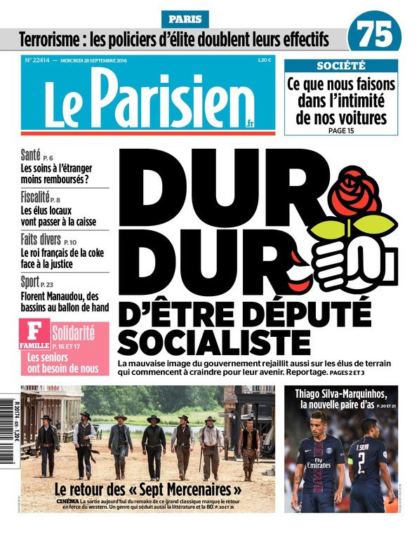 Le Parisien + Journal de Paris du mercredi 28 septembre 2016
