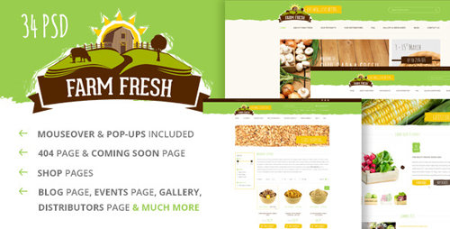 ThemeForest - Farm Fresh - Organic Products PSD Template
