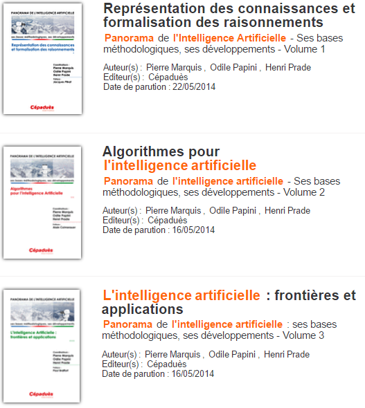 Panorama de l'intelligence artificielle en 3 Volumes ( Complet ).