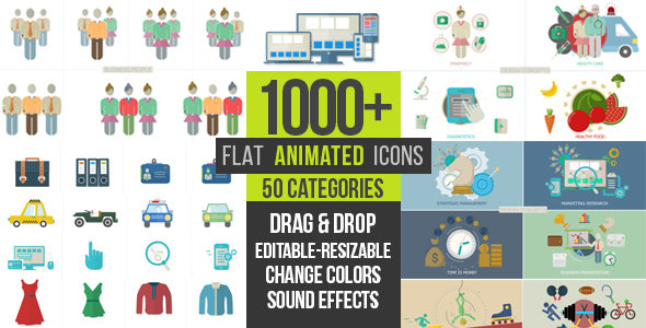 VideoHive - Flat Animated Icons 1000+ - Project for After Effects