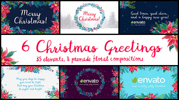 VideoHive - 6 Christmas Greetings - Project for After Effects