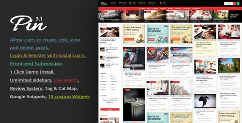 ThemeForest - Pin v3.1 - Pinterest Style / Personal Masonry Blog / Front-end Submission