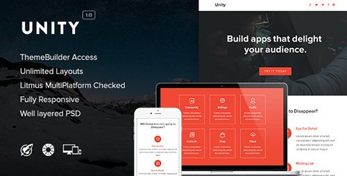 ThemeForest - Unity v1.0 - Responsive Email + Themebuilder Access