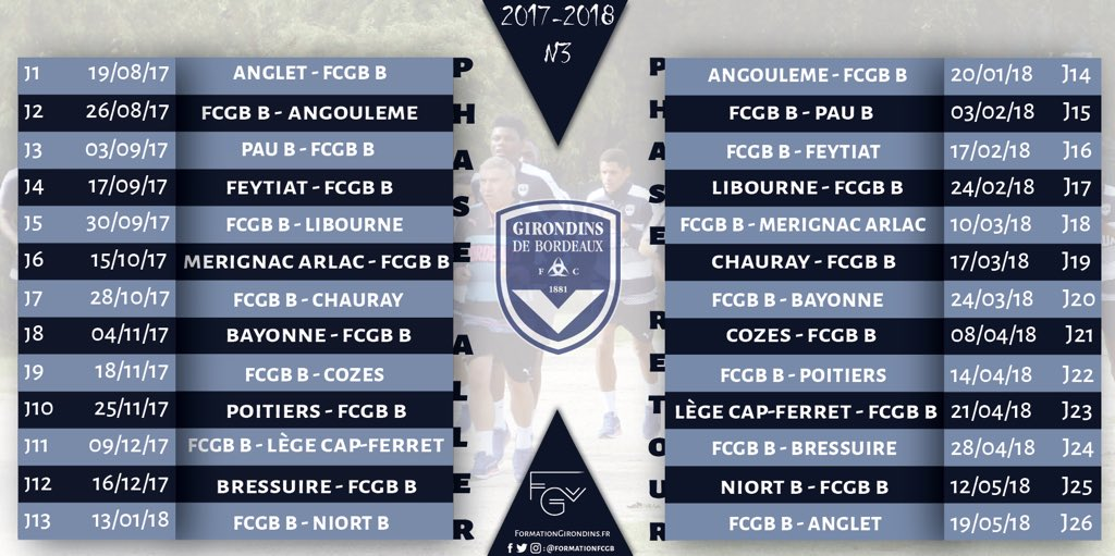 Cfa Girondins : Une modification dans le calendrier - Formation Girondins
