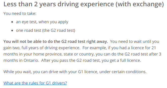 Driving licence in Ontario - Less than 2 years driving