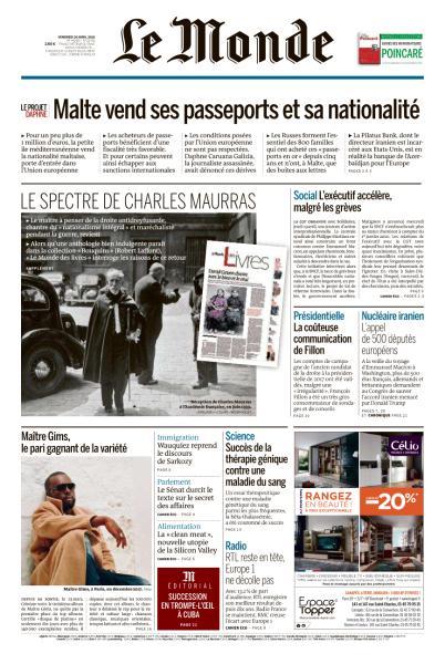 Le Monde Du Vendredi 20 Avril 2018