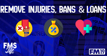 [FM19] Remove all injuries, bans and/or loans (2 files). By @Timo@