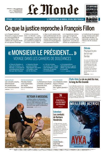 Le Monde du Dimanche 13 & Lundi 14 Janvier 2019