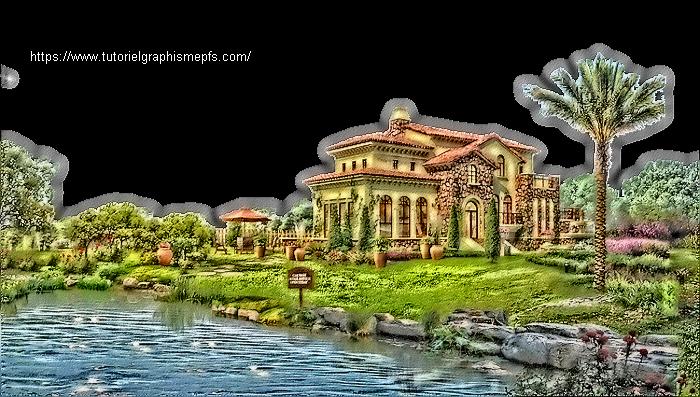 Tube PNG relief , paysages, maison, fleurs et autre. Oqmw