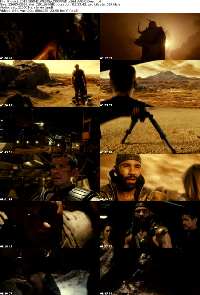 Download Riddick (2013) WEBRip CROPPED x264 AAC- 500MB DiDee